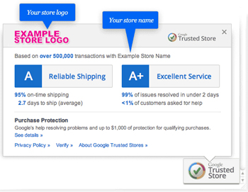 google trusted stores badge informatie