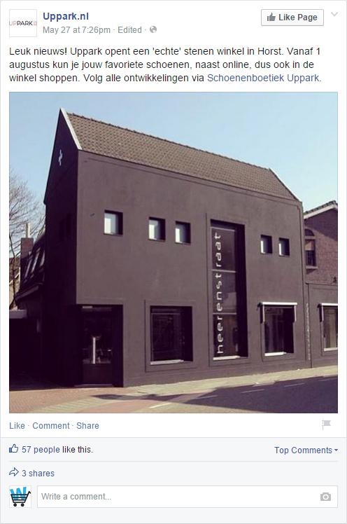 Uppark.nl kondigt het nieuws aan op Facebook.