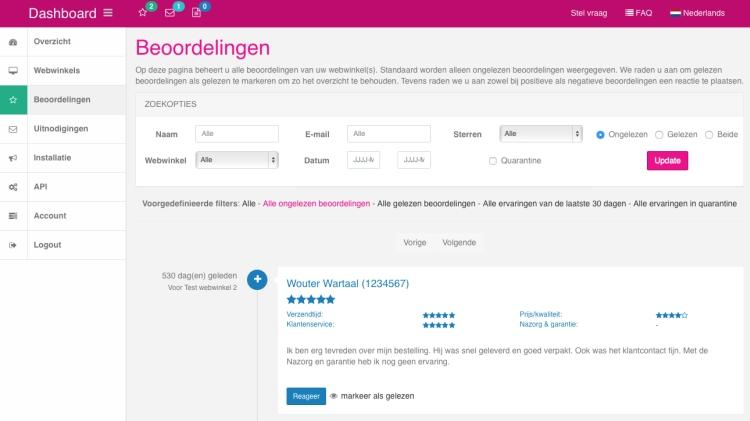 Het nieuwe dashboard van WebwinkelKeur