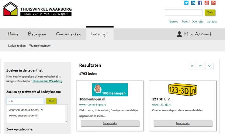 Het keurmerk van V&D is niet meer te vinden op de site van Thuiswinkel Waarborg.