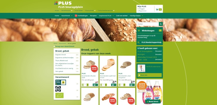 Online boodschappen bestellen bij een lokale Plus-supermarkt.