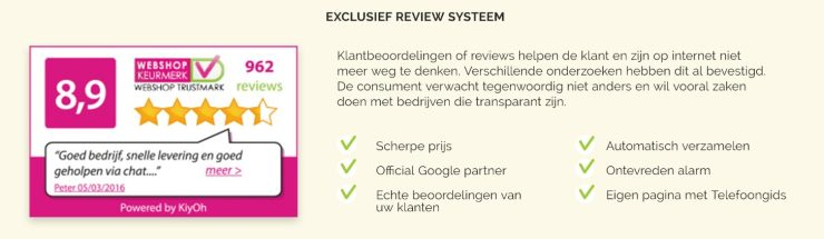 Kiyoh reviews via Webshop Keurmerk