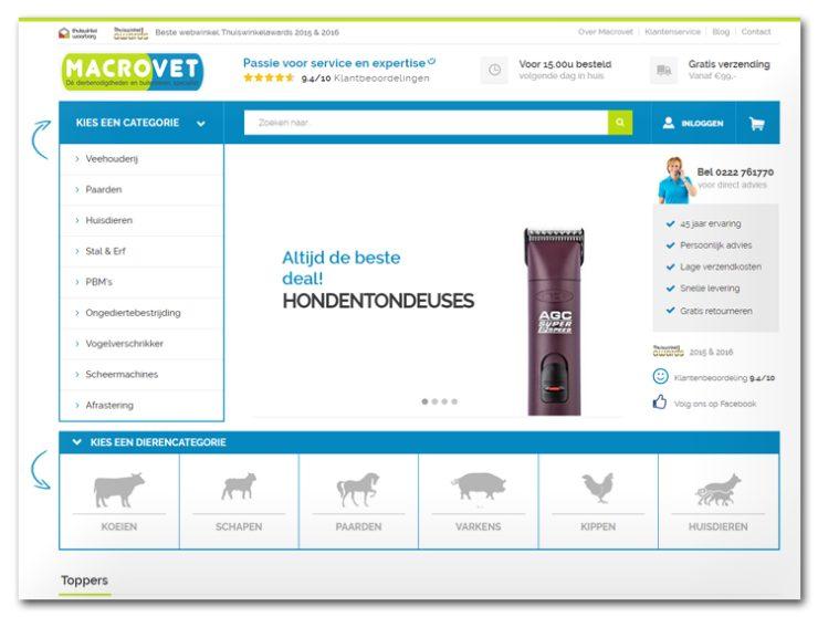 De website van Macrovet
