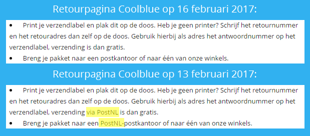 Coolblue op retourpagina over PostNL.