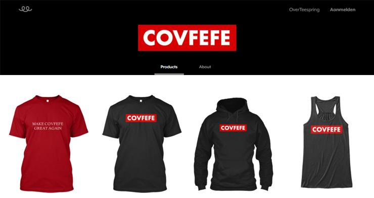 Een covfefe-webwinkel.