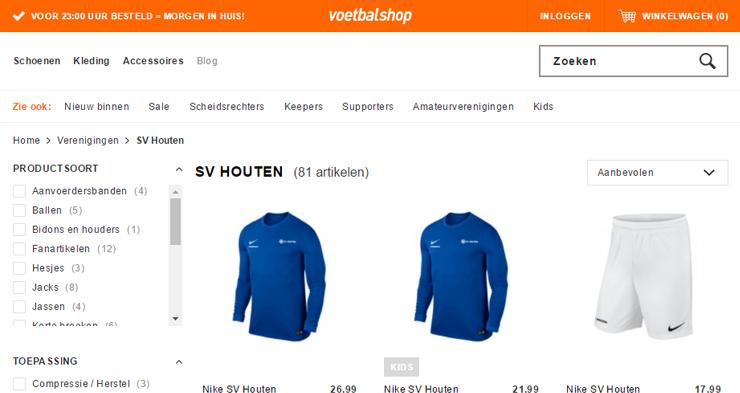 De webshop van amateurclub SV Houten op Voetbalshop.nl