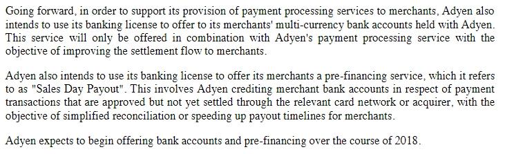 Deel van de prospectus van Adyen waarin de plannen voor kredietverlening staan.