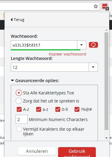 Met een password-manager als LastPass kun je in de browser met één druk op de knop een veilig wachtwoord genereren en laten onthouden.