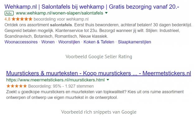 Google Seller Rating en rich snippets