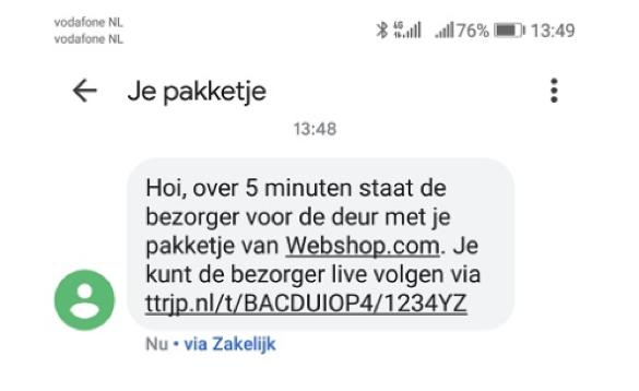 Een voorbeeld van een sms'je om de klant op de hoogte te houden van de levering.