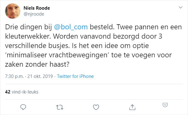 Tweet over de inefficiënte bezorging van Bol.com