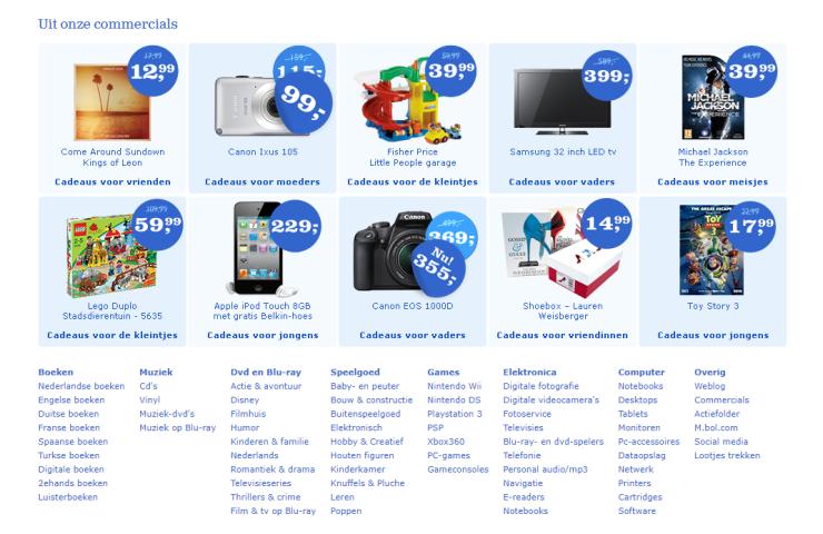 In 2010 maakte Bol.com nog reclame voor compactcamera's, 32-inch tv's en de iPod Touch.
