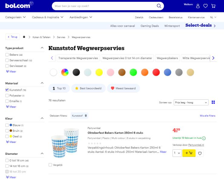 Bol.com stopt nu al met de verkoop van wegwerpplastic.