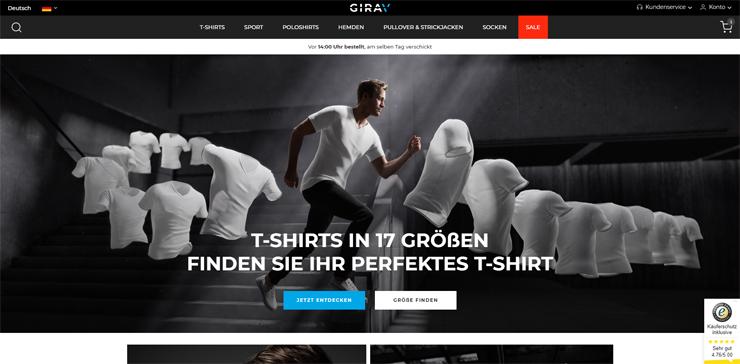 De Duitse webwinkel van Girav.