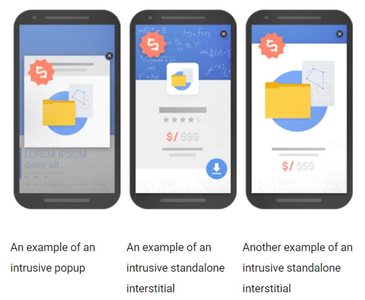 Slechte pop-ups volgens Google