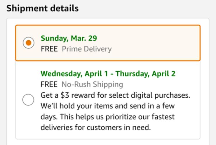 De 'geen haast'-optie bij Amazon.
