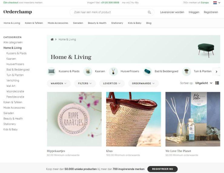 'Home & Living', een van de categorieën op Orderchamp.