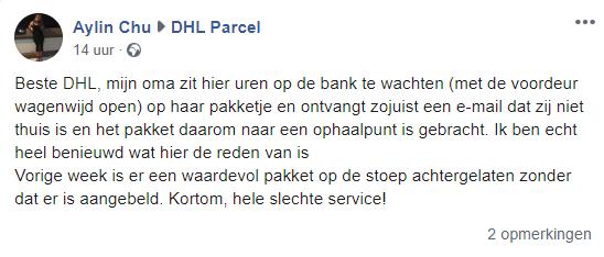 Eén van de vele klachten over DHL op Facebook.