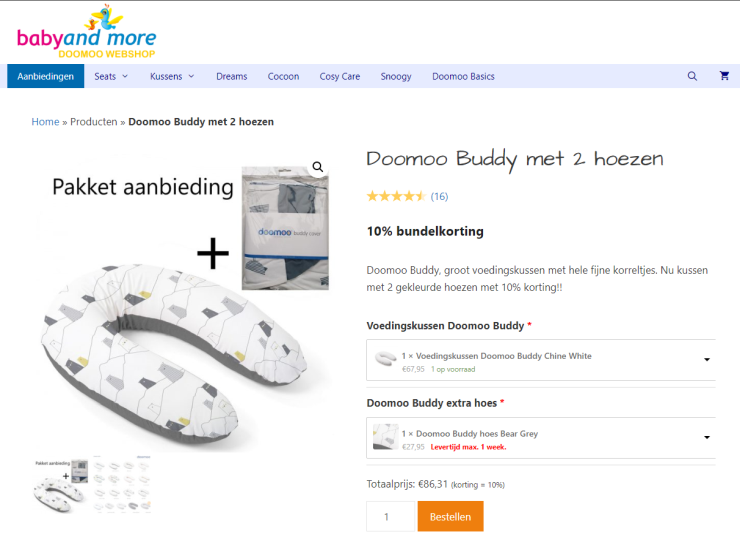 De Doomoo Webshop, die sinds februari draait op WooCommerce.