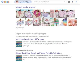 Een reverse image search. Klik op de afbeelding voor een groter formaat.