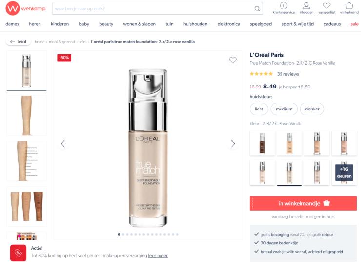 Een voorbeeld van traditioneel webshop-design.