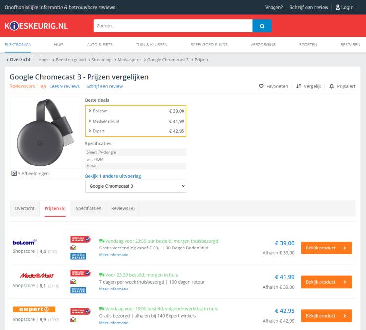 Het Kieskeurig Keurmerk wordt getoond bij bepaalde webshops op de prijspagina.