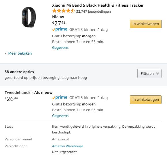 Een Amazon Warehouse-aanbieding op Amazon.nl
