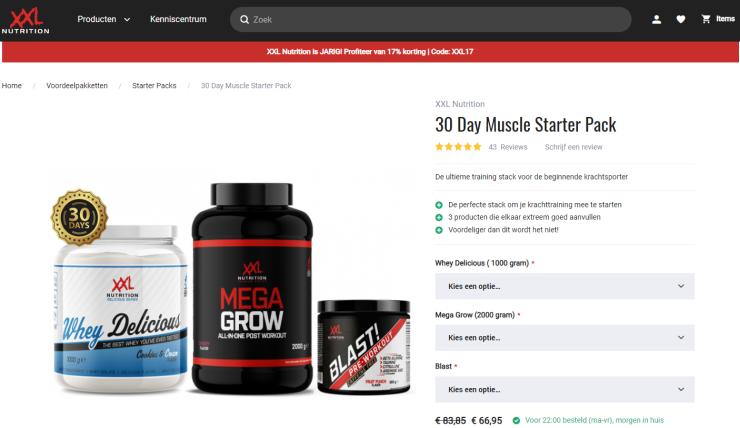 De website van XXL Nutrition