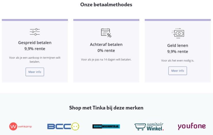 De betaalmethodes van Tinka en de webwinkels waarmee het momenteel samenwerkt.