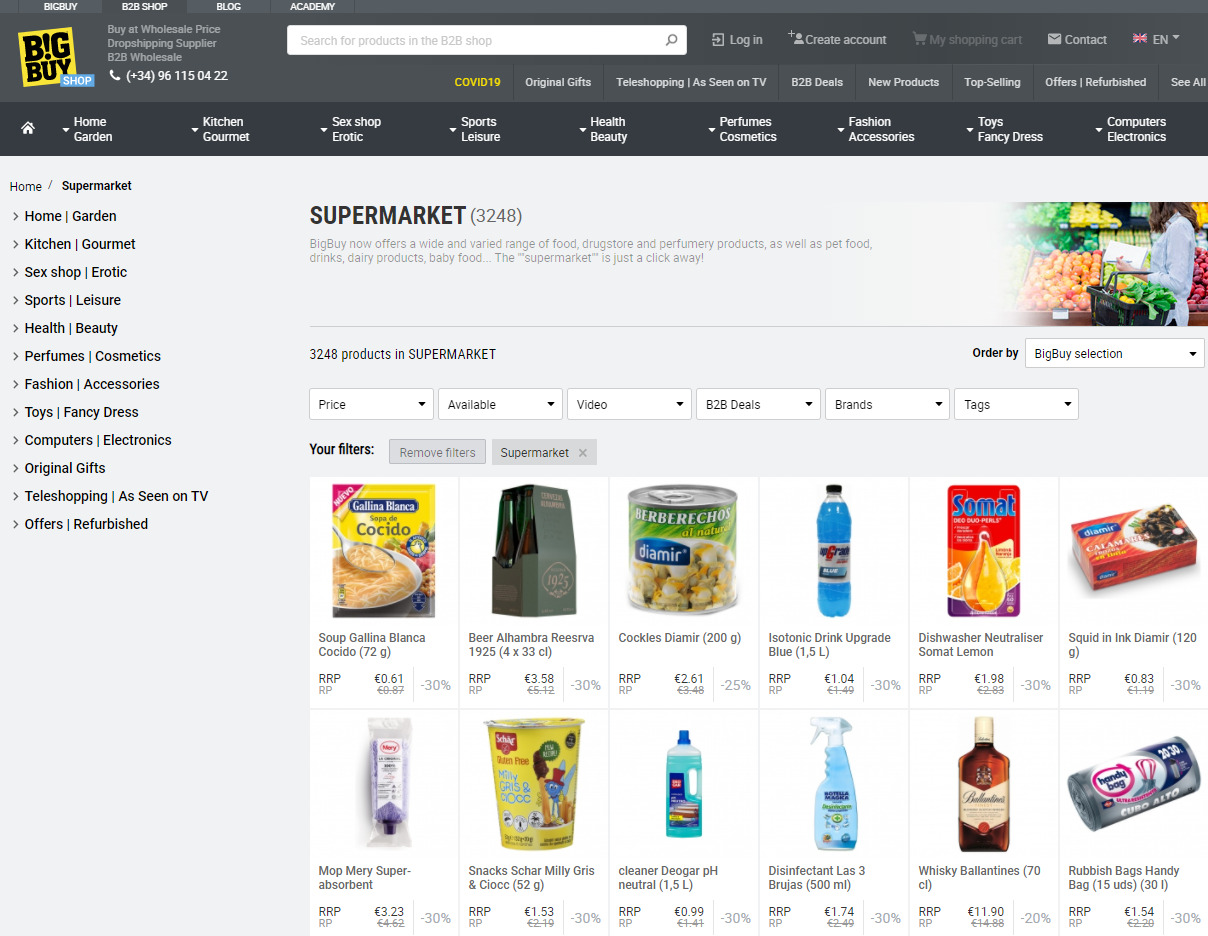BigBuy biedt nu ook supermarkt-artikelen aan via dropshipping.